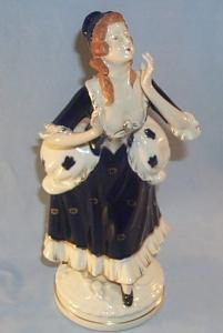 Occupied Japan WOMAN IN COBALT DRESS Porcelain Figurine