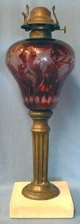 Cranberry Glass Oil Lamp with Marble Base - Victorian Light Lighting
