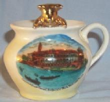 German Made Souvenir Porcelain Advertising Pot with Golden Bear CASINO FROM CANAL, BELLE ISLE PARK, DETROIT, MICH.