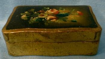 Folk Art Hand Painted Wood Wooden Box - Misc