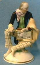 Wien Porcelain Organ Grinder Music Man with Music Box - WIEN