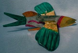 old vintage Tin Folk Art  FISH Holiday Ornament -  Sporting Metalware