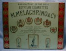 Tin Cigarette Box - MELACHRINO & CO Egyptian Cigarette Tin Box - Tobacciana Advertising Metalware