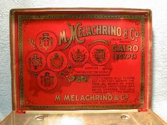 Tin Cigarette Box - MELACHRINO & CO Egyptian Cigarette Tin Box - Tobacciana Advertising Metalware
