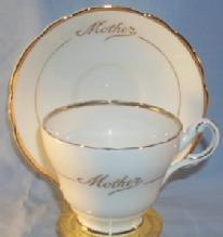 Gold Trimmed MOTHER Porcelain Cup and Saucer Set