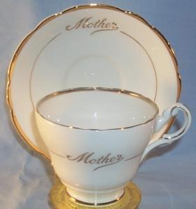 Gold Trimmed MOTHER Porcelain Cup and Saucer Set