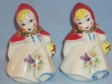 LITTLE RED RIDING HOOD Pottery Salt and Pepper Shakers