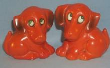 German ORANGE DOG Pottery Salt and Pepper Shakers