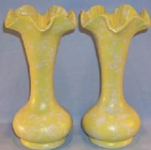 Two SHAWNEE Yellow Pottery Vases