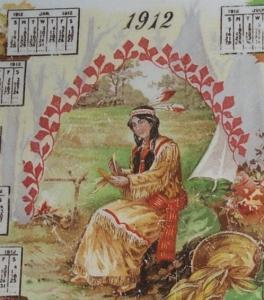 DRESDEN Indian Maiden Decorated 1912 Calander Advertising Pottery Plate