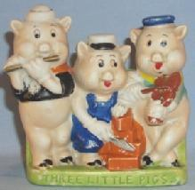 Walt Disney THREE LITTLE PIGS Porcelain Toothbrush Holder