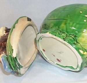 Colorful Black Boy on Watermelon MAJOLICA Container with Lid - Ethnographic