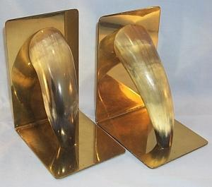 HORN Decorated Brass Bookends - Metalware