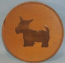 SCOTTIE DOG Round Wooden Wall Plaque - Misc.