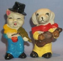 Hand Painted DOG AND PIG MUSICIANS Bisque Porcelain Figurines