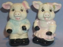 SMILING PIGS Porcelain Salt and Pepper Shakers
