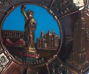 NEW YORK CITY Advertising Bronzed Grey Metal Hanging Plaque