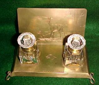 Deer & Dog Cut Glass with Brass Inkwell - Metalware