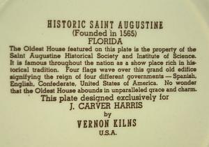 Vernon Kilns HISTORIC SAINT AUSGUSTINE Commemorative Pottery Plate