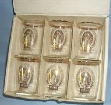 Six COORS Gold Trimmed Advertising Glass Tumblers in Original Box