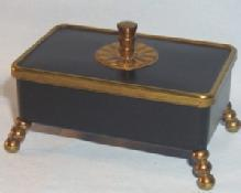 Brass and Black Painted Metal Cigarette Box with Lid - Tobacciana