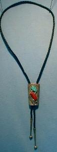 Red Coral Turquoise Silver BOLO TIE Native