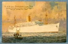 nautical Steamship P&O RMS STRATHMORE Steamship Cruise Line Postcard - paper