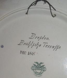 DRESDEN BRUHLSCHE TERRASSE Mettlach Stoneware Plaque - Pottery