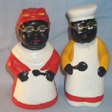 Contemporary MAMMY AND CHEF Ceramic Nodders / Banks - Ethnographic