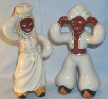 Occupied Japan Black Man and Woman Ceramic Figurines - Ethnographic