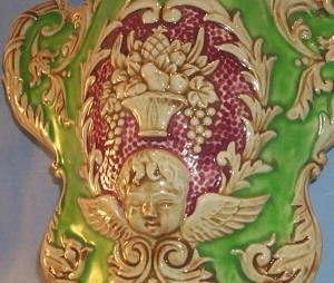 Colorful WINGED CHERUB Porcelain Wall Pocket