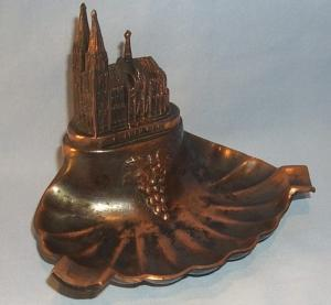 KOLNERDOM Copper Coated Grey Metal Ashtray - Tobacciana