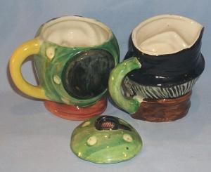 Unmarked OLD MAN AND WOMAN Porcelain Creamer and Sugar Set