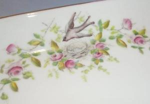 Beautiful Hand Painted BIRD Design Porcelain Dresser Tray