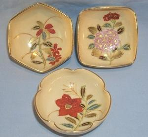 Three Hand Painted Gold Trimmed Porcelain Nut Bowls