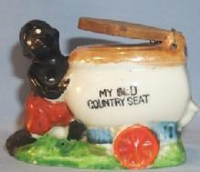 MY OLD COUNTRY SEAT Black Boy Pushing Toilet Porcelain Ashtray - Ethnographic