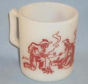 Red HOPALONG CASSIDY Milk Glass Advertising Mug