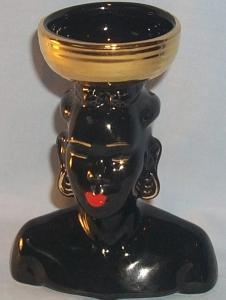Porcelain Head Vase with Gold Trim and Red Lips - Ethnographic