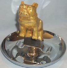 Golden MACK Truck Bulldog Emblem Mounted on Chrome Plated Advertising Ashtray - Tobacciana
