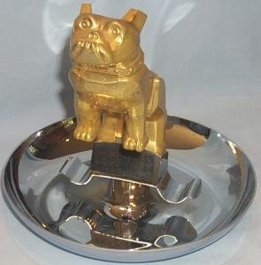 Golden MACK Truck Bulldog Emblem Mounted on Chrome Plated Advertising Ashtray - Tobacciana