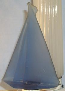 Pretty Blue Satin Glass Sailboat Table Lamp