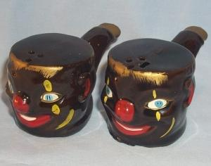 Black Clown Face on Pipe Shaped Porcelain Salt and Pepper Shakers - Ethnographic