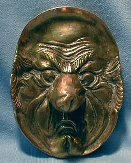 Brass Dish  Grotesque Mans Face - Vintage Figural Brass Dish - Metalware