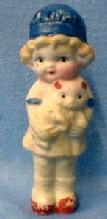 old vintage Bisque Doll Figure Girl Child with Teddy Bear - Japan Porcelain Toy