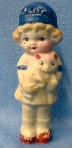 Bisque Doll Figure Girl Child with Teddy Bear Dollhouse - Japan Porcelain Toy