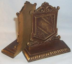 C.I.  COAT OF ARMS SHIELD Metalware Bookends