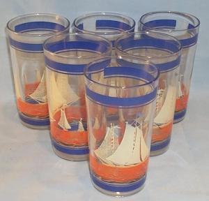Six  SAILBOAT Pattern Glass Tumblers