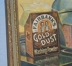 GOLD DUST Washing Powder Advertising Wood Frame Poster Ethnographic.