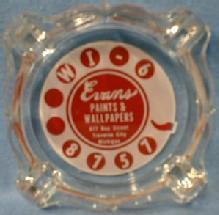 EVANS Paints & Wallpaper -  Advertising for Traverse City Michigan - Cigarette Ashtray - Glass Souvenir Tobacciana