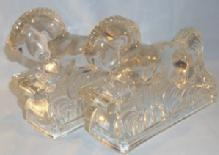 Clear Glass JUMPING HORSE Bookends